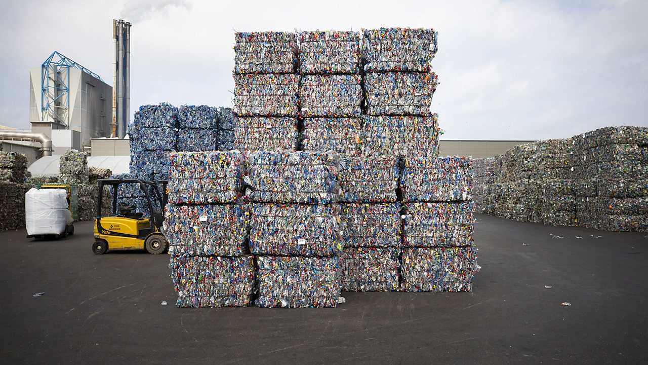 Plastic recycling plant: we can recycle some types of waste plastic into other products.