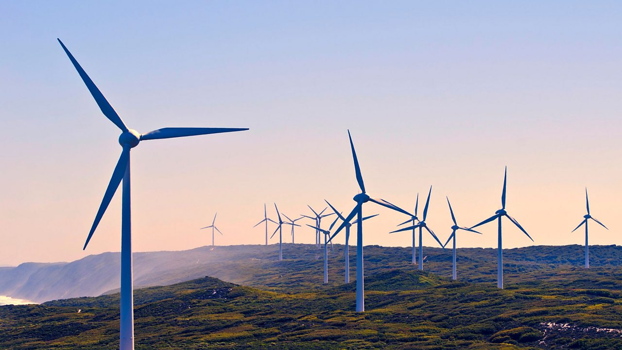 Wind farms are located on high ground or out at sea, where the wind is strongest.
