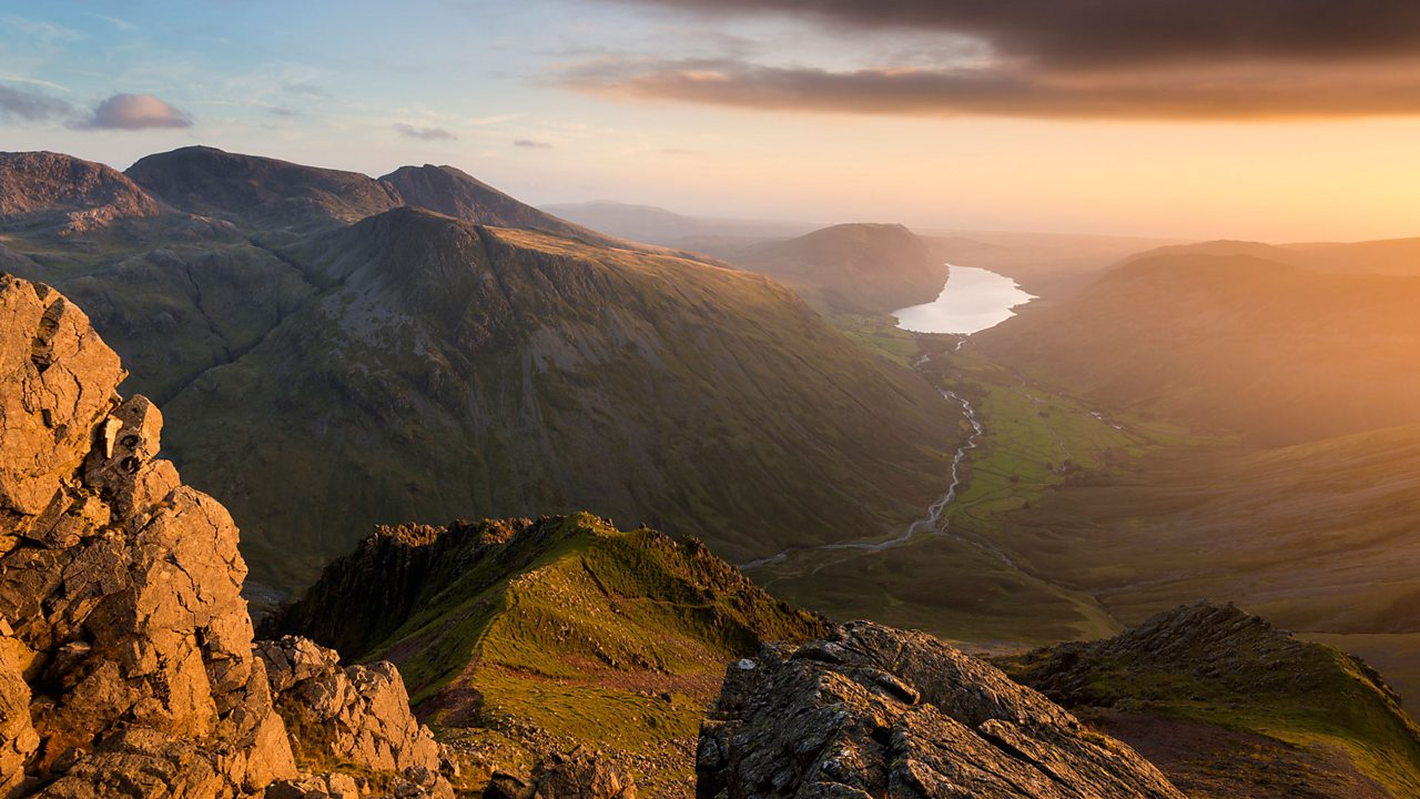 Scafell Pike (on the left) is the tallest mountain in England.