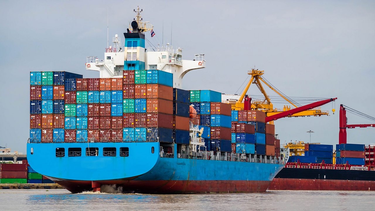 Container ships are used to transport trade goods all around the world.