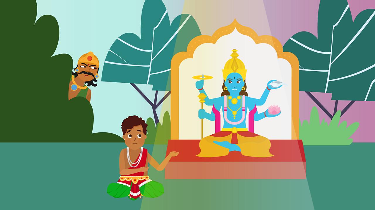 Prahlad worshiping Vishnu