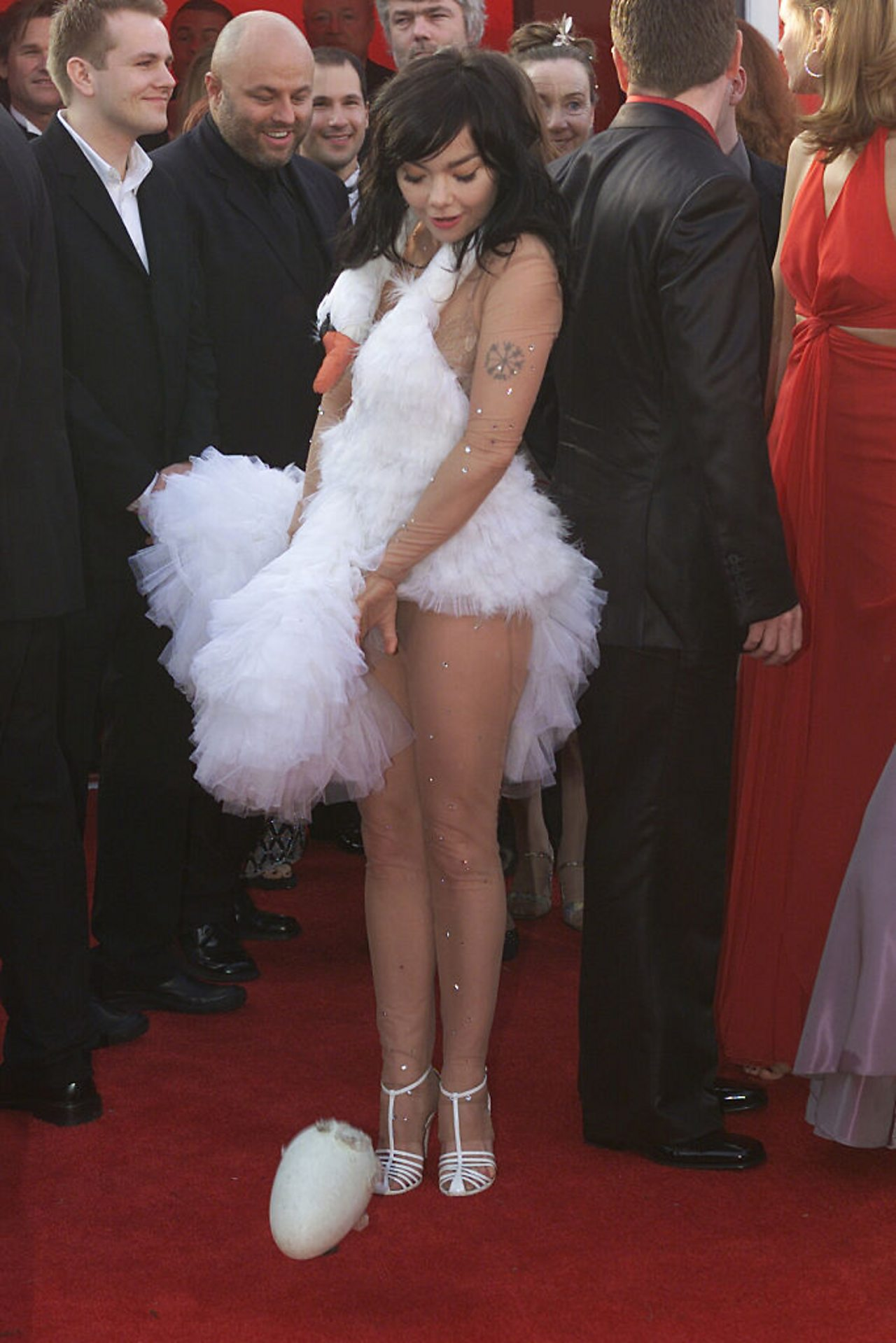 Bjork and the swan dress with egg