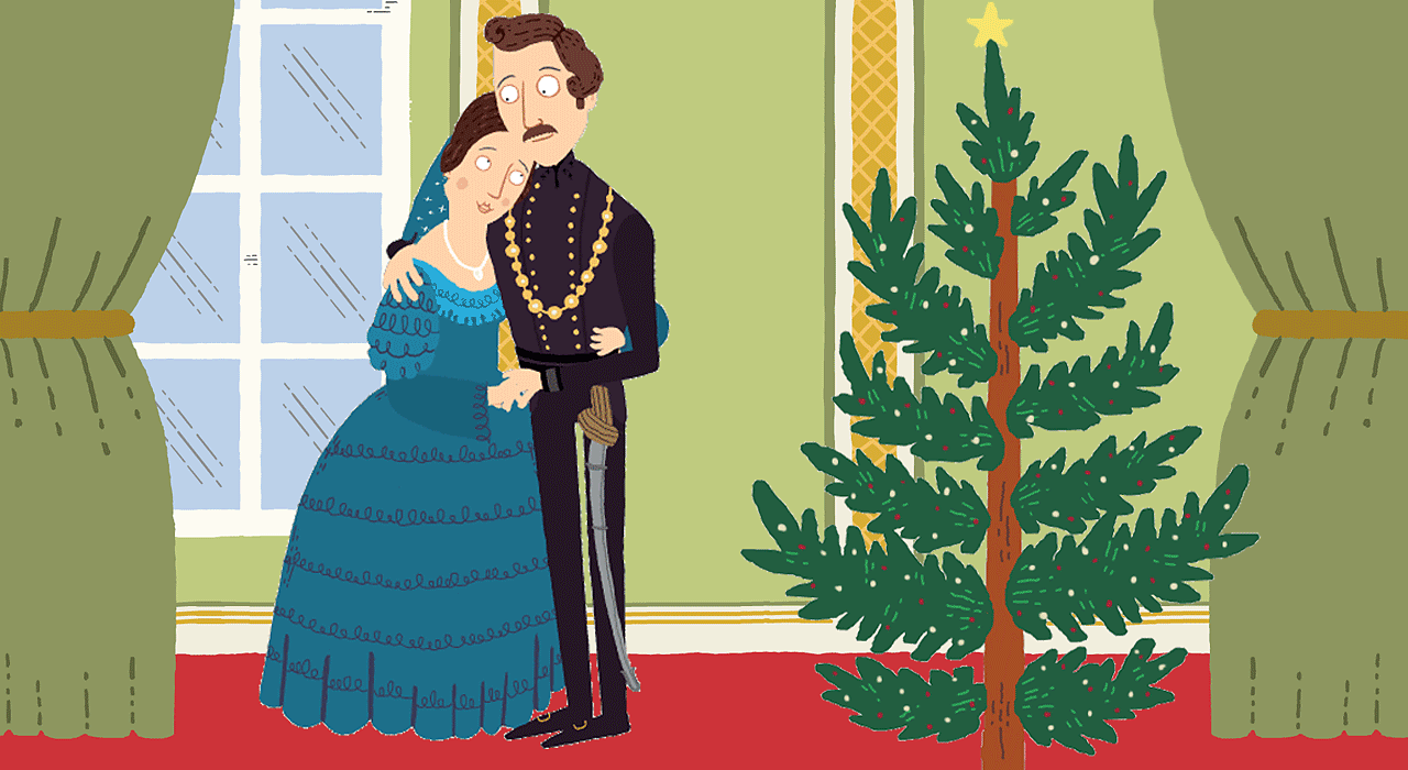 Victoria and Albert with a Christmas tree.