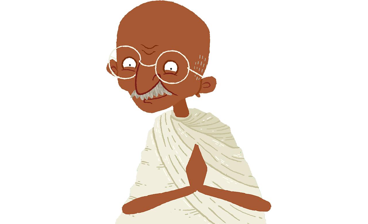 Gandhi smiling.
