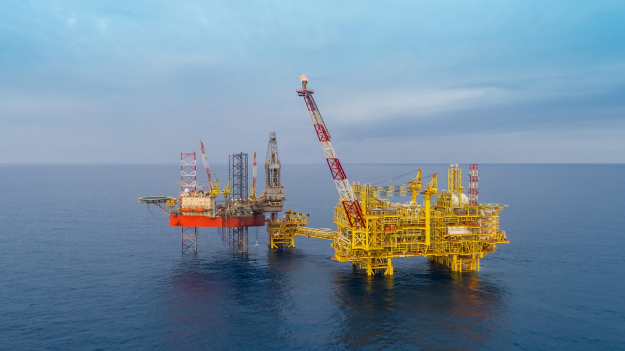 A gas platform pumping up natural gas from below the ocean. We use gas for cooking and powering some vehicles.