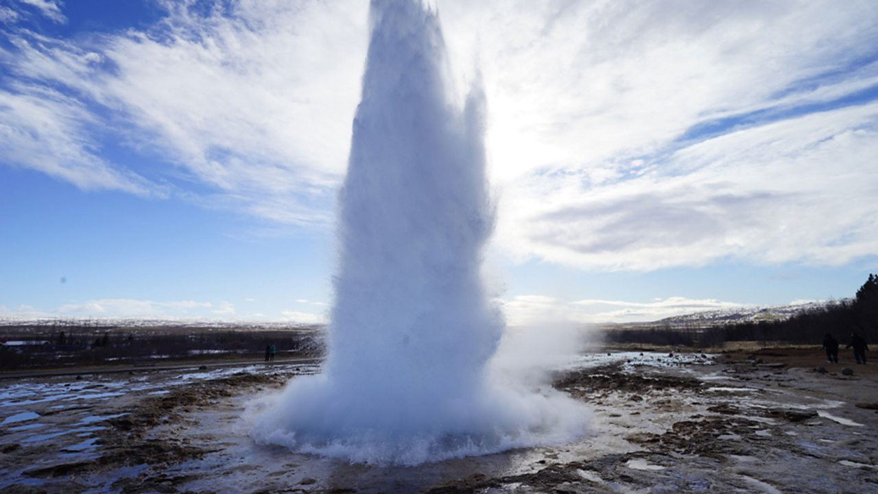 Hot water spewing out of a geothermal vent. This hot water can be used to generate electricity.