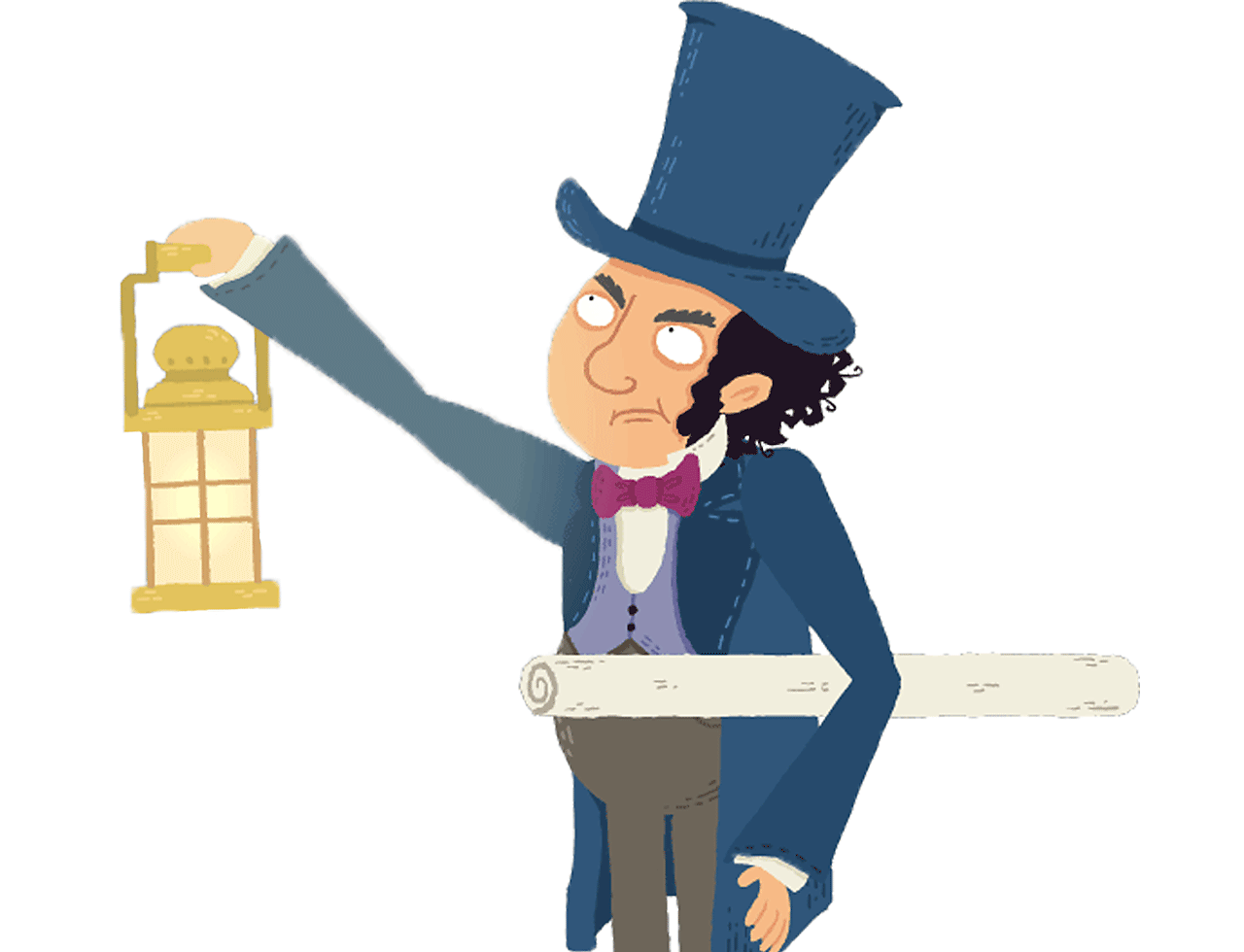 Isambard Kingdom Brunel holding a lamp.