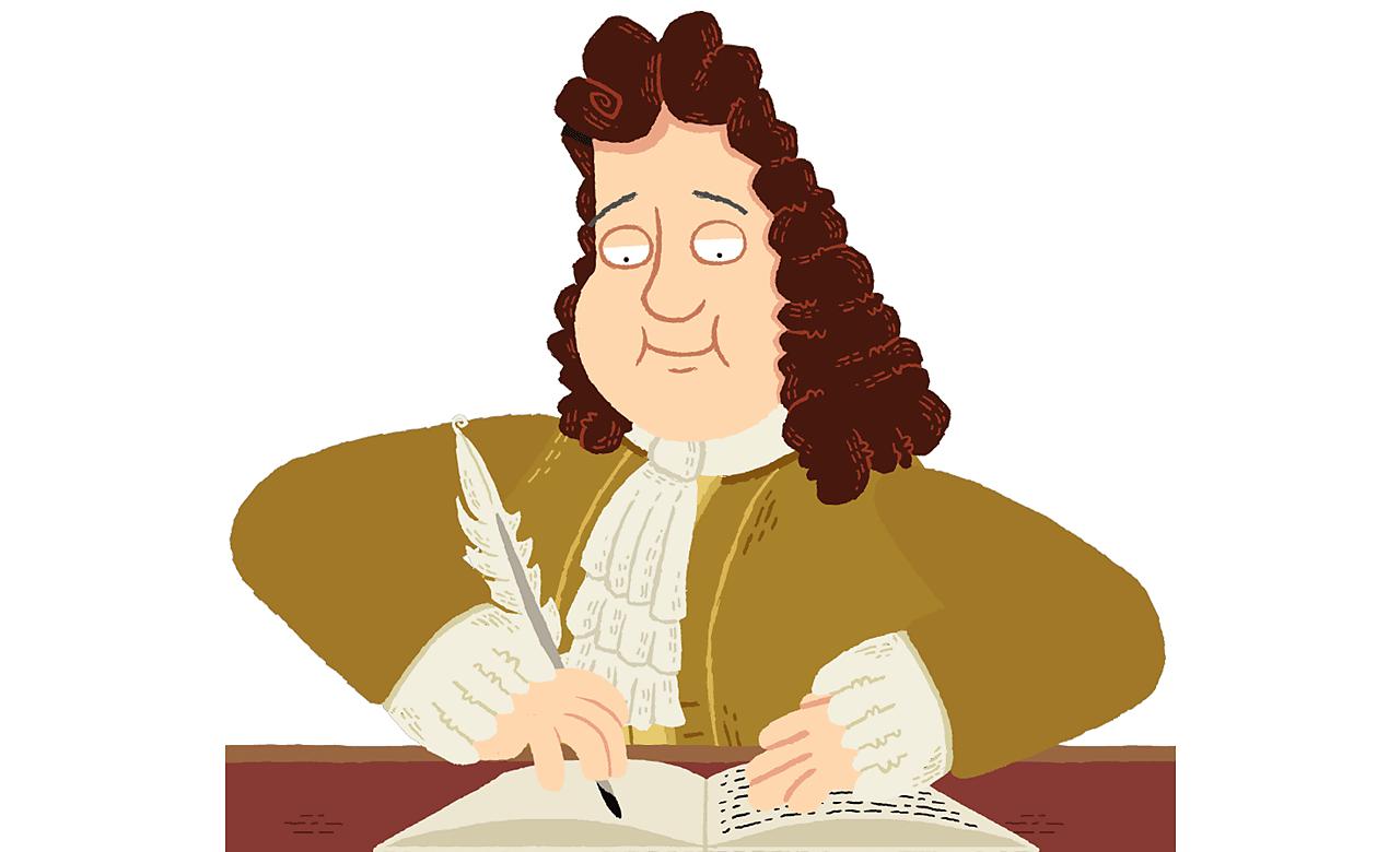 Samuel Pepys writing at his desk.