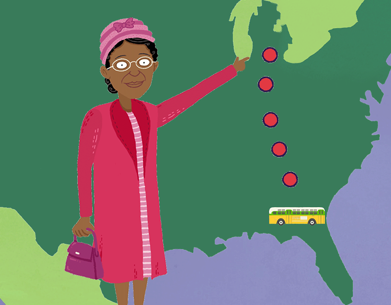 Rosa Parks stood with a map of Alabama.