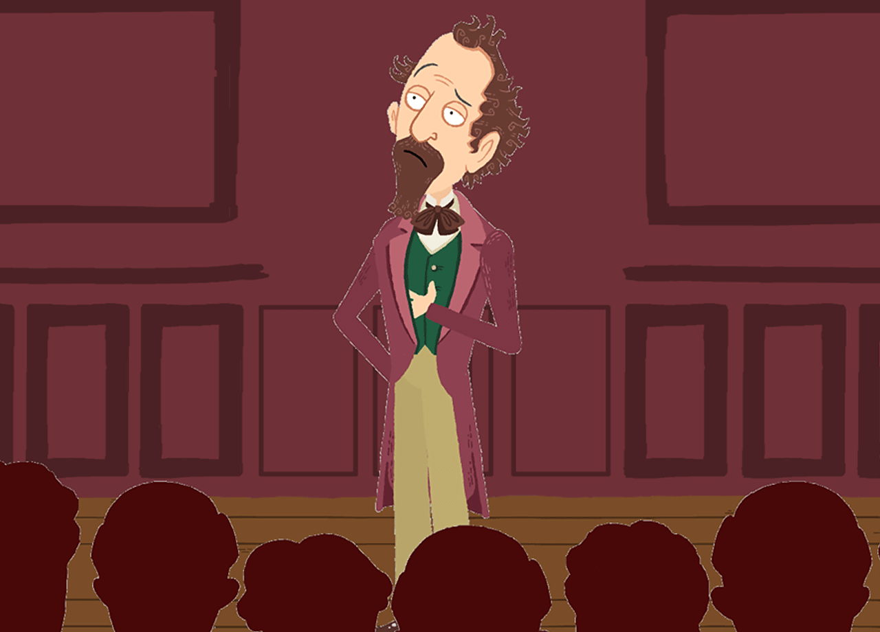 Charles Dickens speaking to a crowd.