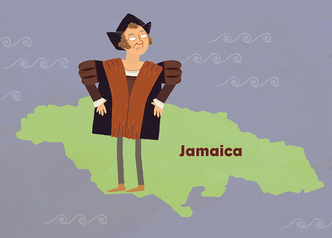Christopher Columbus standing on Jamaica