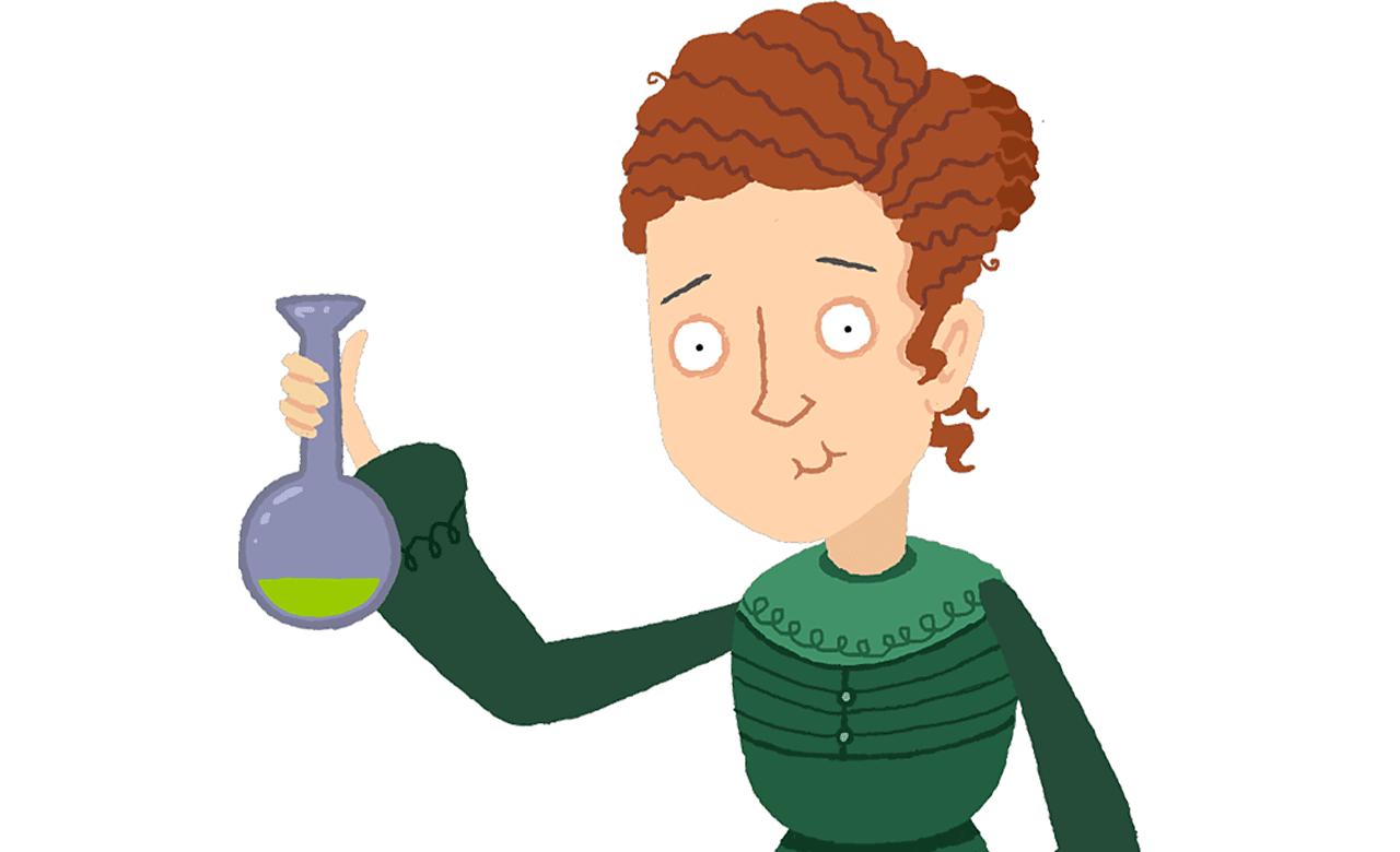 Marie Curie holding a test tube.
