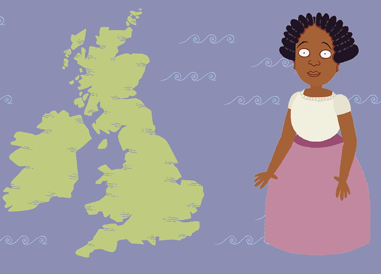 Young Mary Seacole standing next to the United Kingdom.