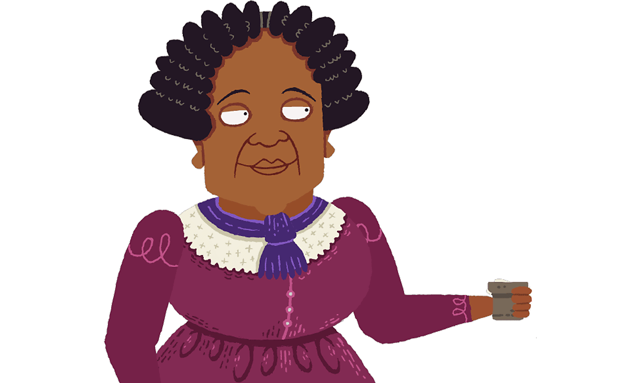 Mary Seacole holding a cup.