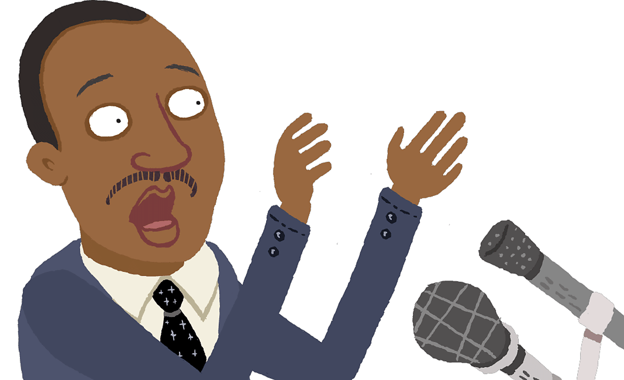 Dr Martin Luther-King talking into a microphone.
