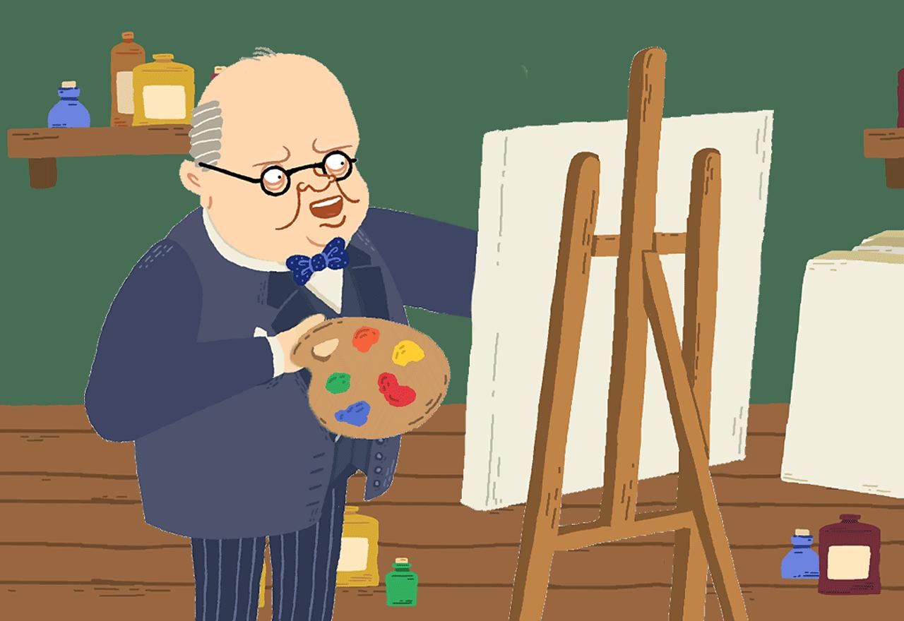 Winston Churchill painting.