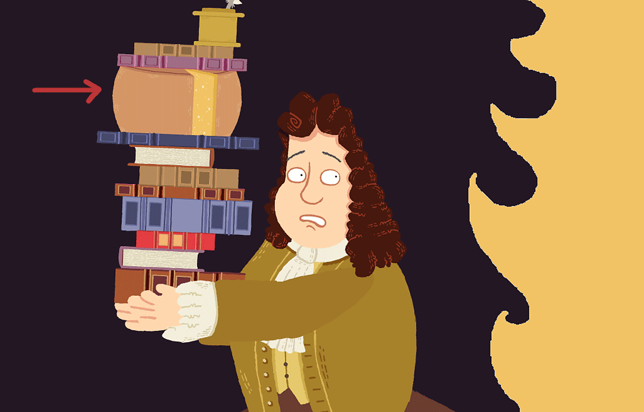Samuel Pepys running away from fire holding cheese and books.