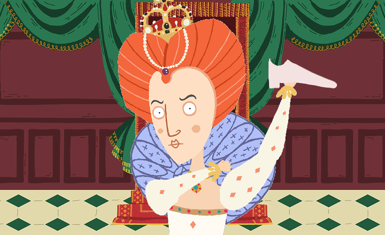 Queen Elizabeth I holding a shoe.