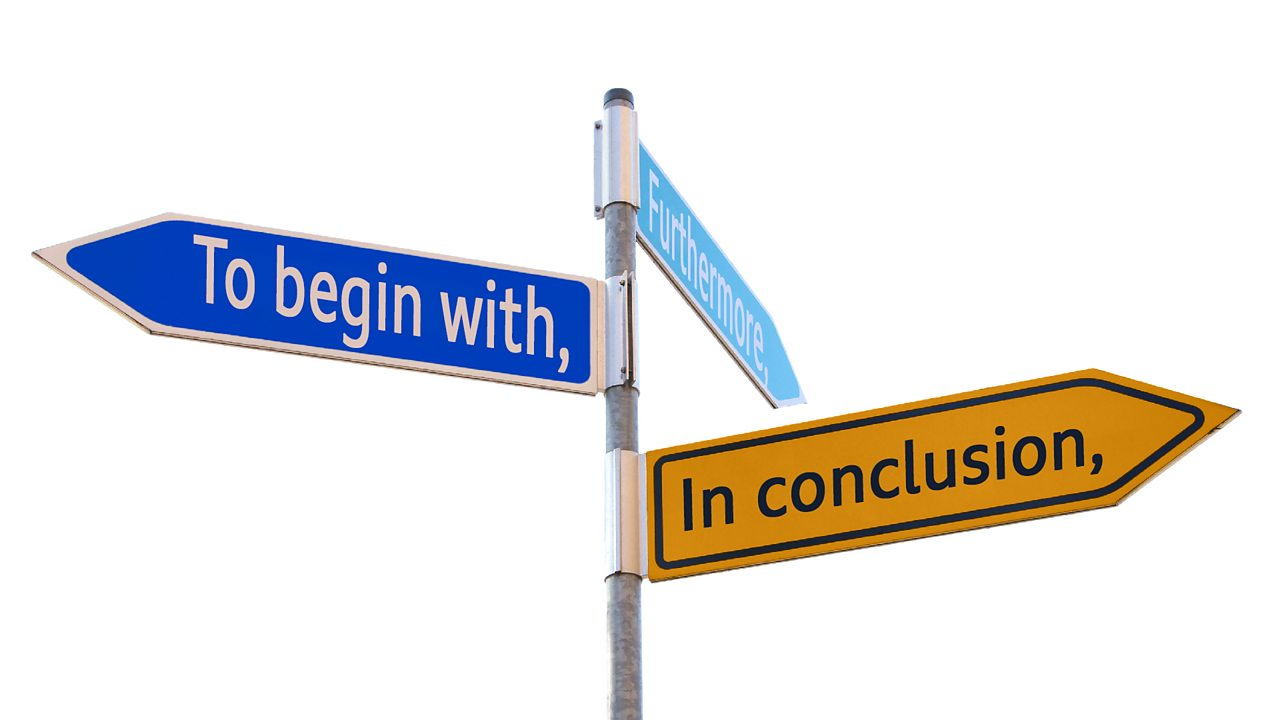 Signposts with the phrases 'To begin with', 'Furthermore', and 'In conclusion'