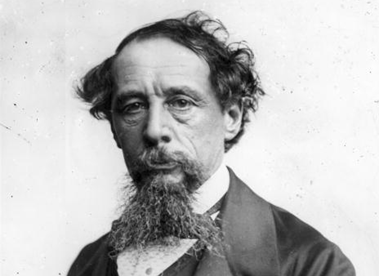 Black and white photograph of Charles Dickens.