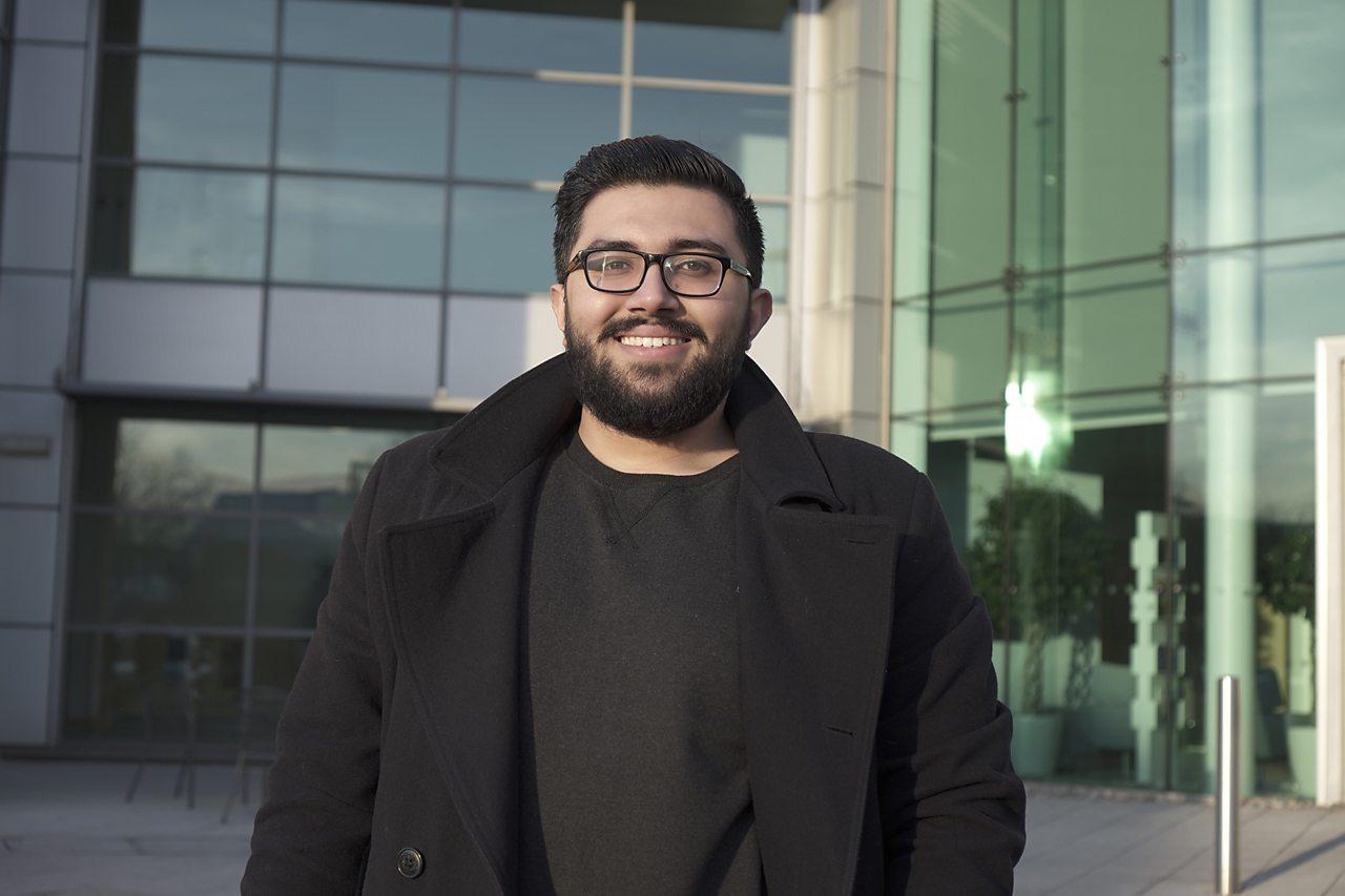 Hamzah outside his office.
