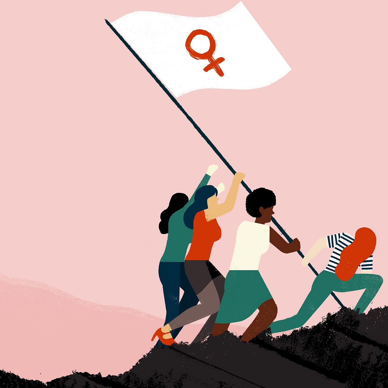 an illustration depicts women raising a flag with the female symbol