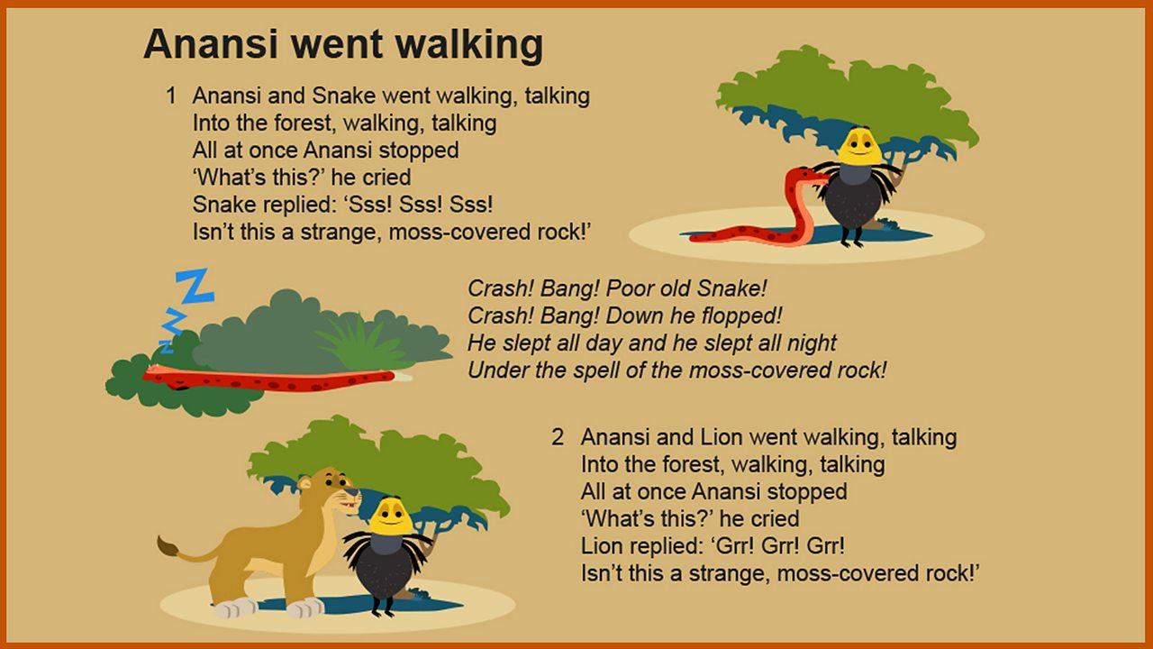 Lyrics: 'Anansi went walking'