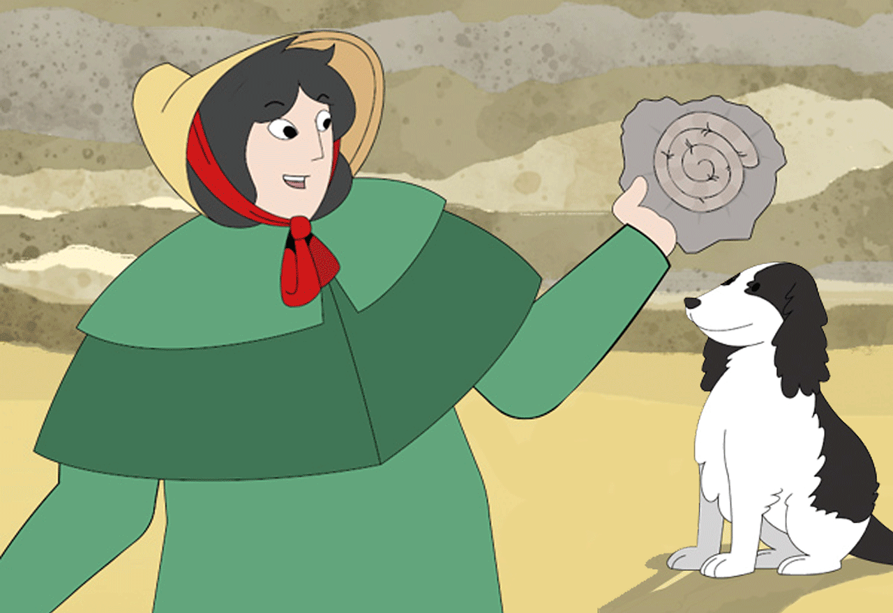 Mary Anning with her dog on the beach holding up a fossil