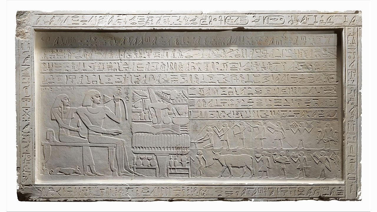 On the top line of this piece is the name of King Nebhepetre Mentuhotep II. The owner of this piece is a man named Intef. In the hieroglyphs, he proclaims he is the king's servant and he explains how he was the overseer of a fortress.