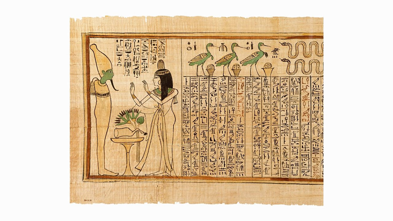 This is a section from a piece of papyrus that was over 17 feet long. It shows a singer named Nany on her journey into the after life. The hieroglyphs are phrases from the 'Book of the Dead'. Nany is at the final stage in her journey into the afterlife. She is at the Hall of Judgement, standing in front of Osiris, the God of the Underworld.