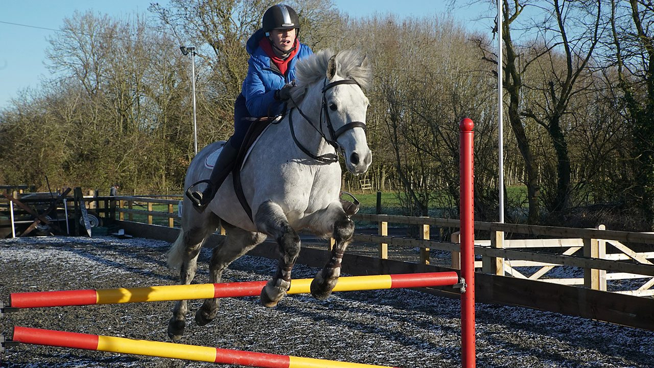 Evie on her horse jumping over a fence.