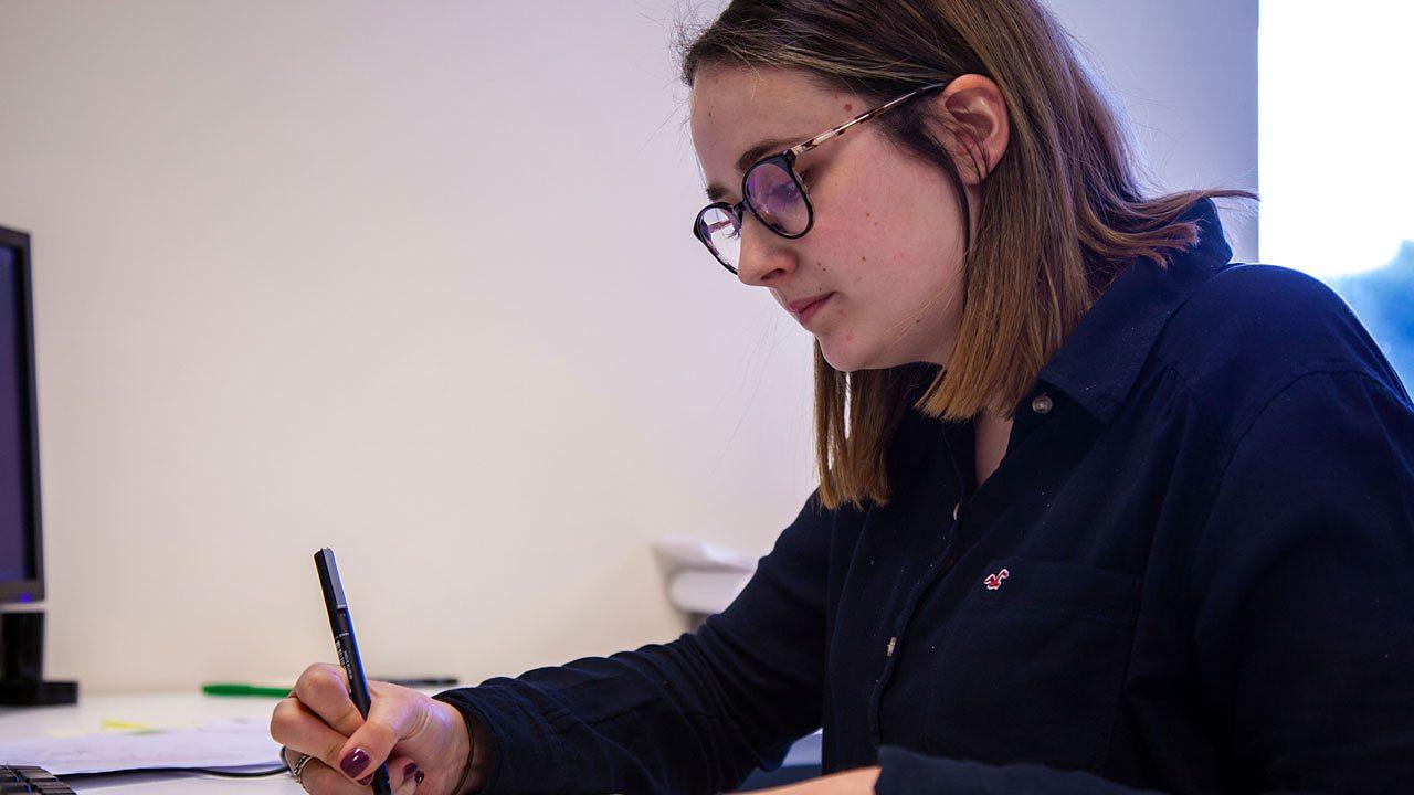 Hannah at work.