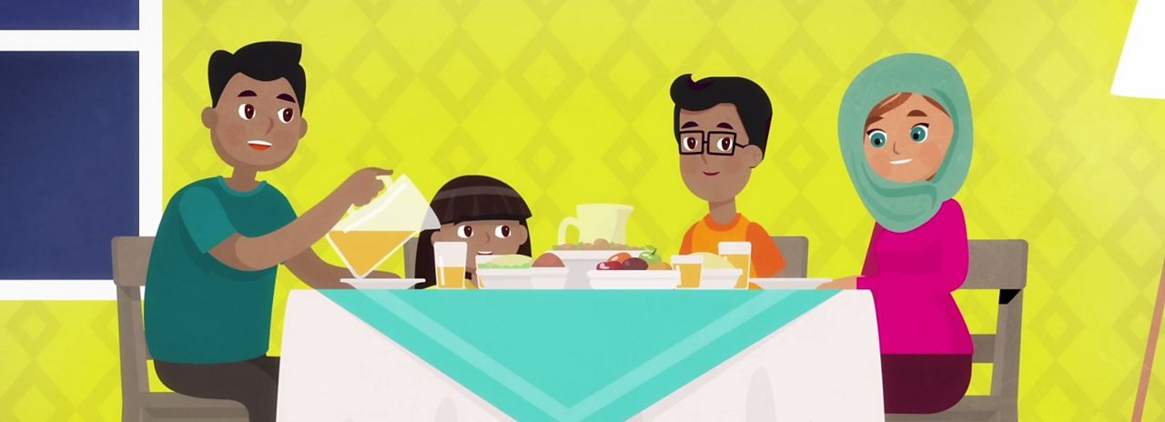 A Muslim family enjoying a meal