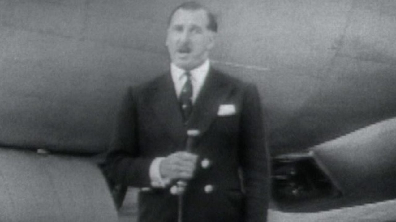 Experimental outside broadcast on a plane, 1955