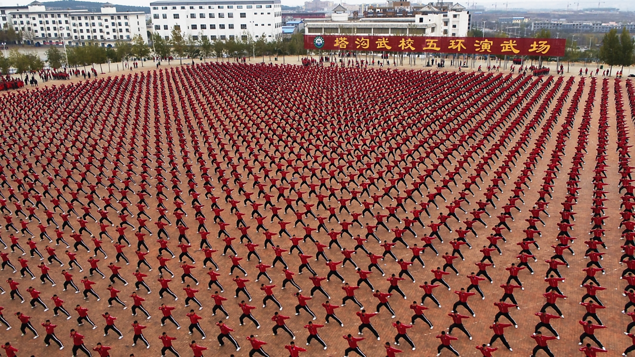 Shaolin Kung Fu display in Dengfeng, China