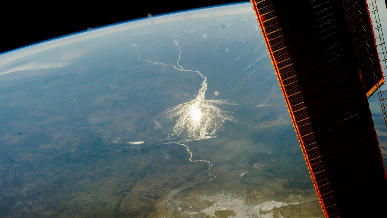 Okavango delta in Botswana, Africa, seen from space