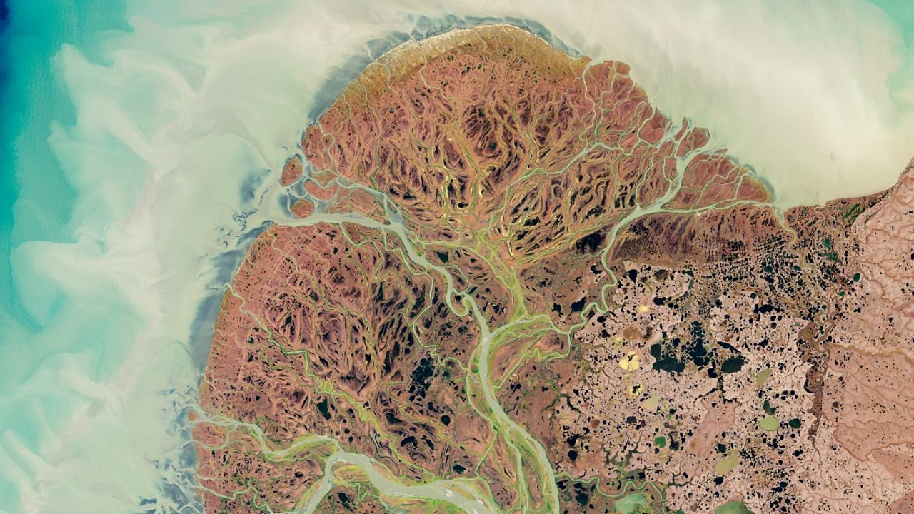 Yukon River Delta, Alaska, from space