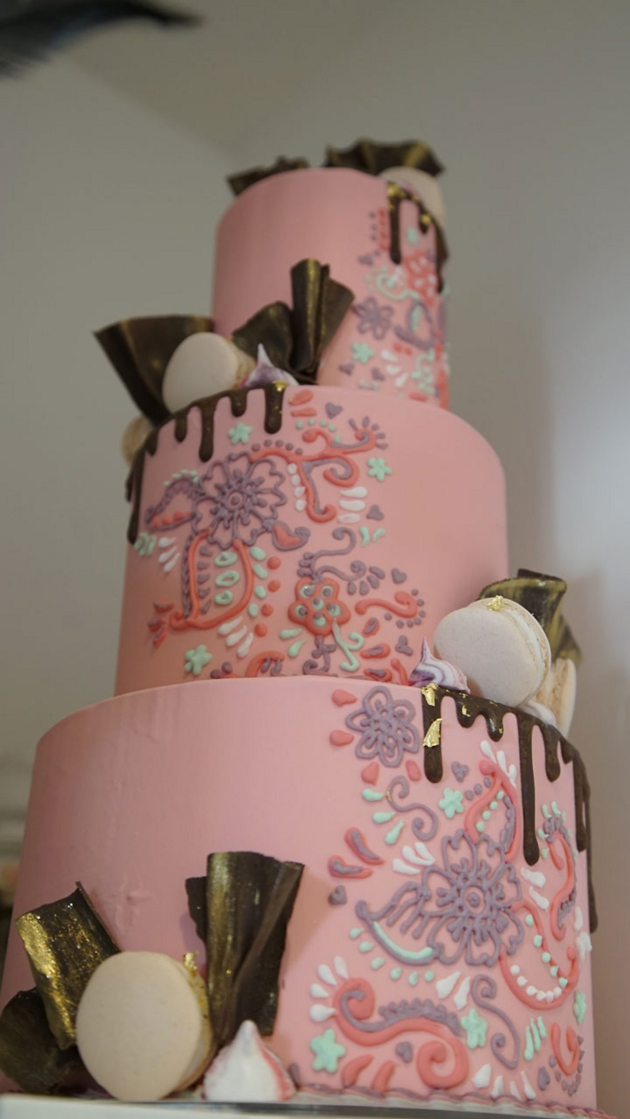 A decorative pink cake Georgia has made.