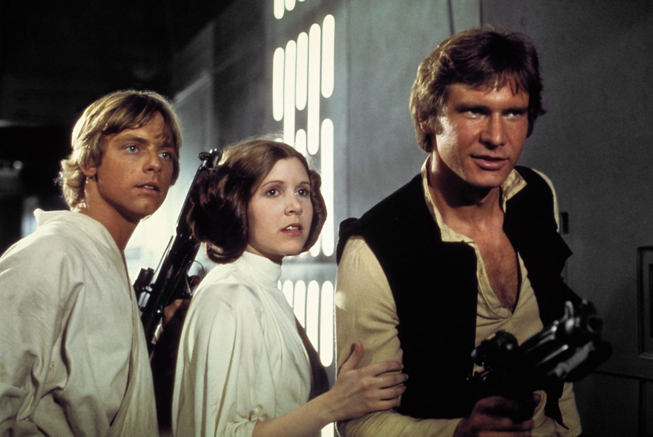 Mark Hamill, Carrie Fisher and Harrison Ford in Star Wars: A New Hope