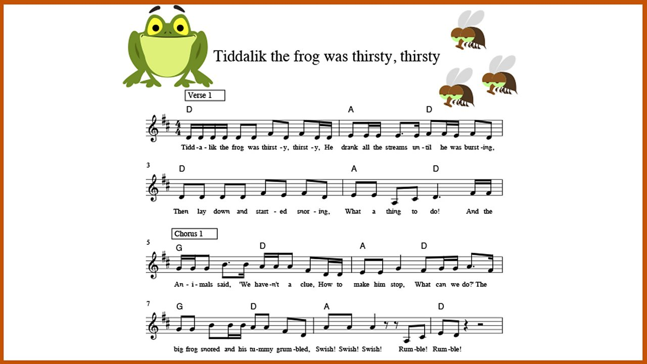 Music: 'Tiddalik the Frog was thirsty, thirsty'