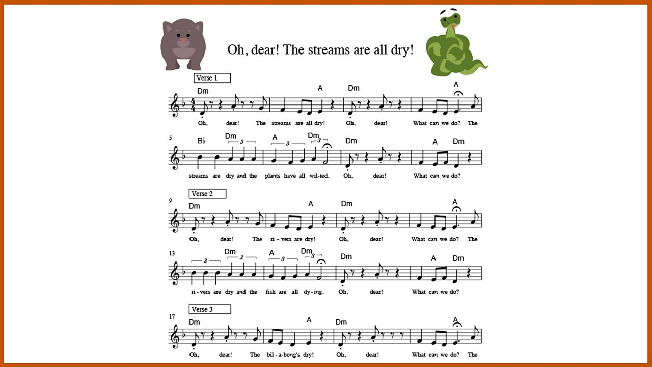 Music: 'Oh, dear! The streams are all dry!'