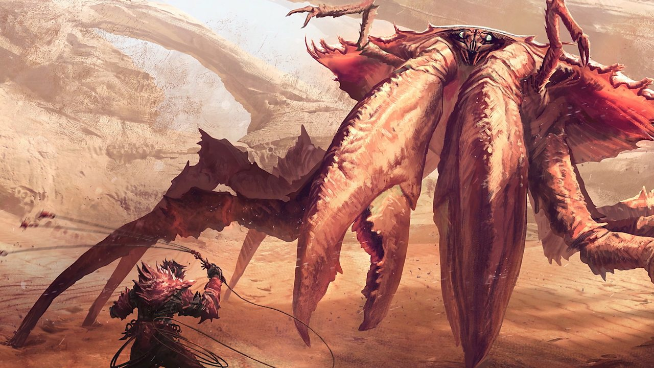 Thomas' artwork – a man defending himself from a giant crab-like creature.