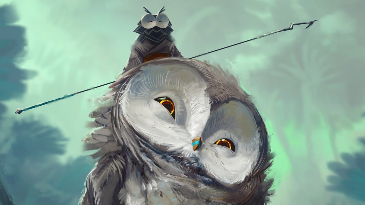 An illustration of a little owl sitting on a large owl's head.