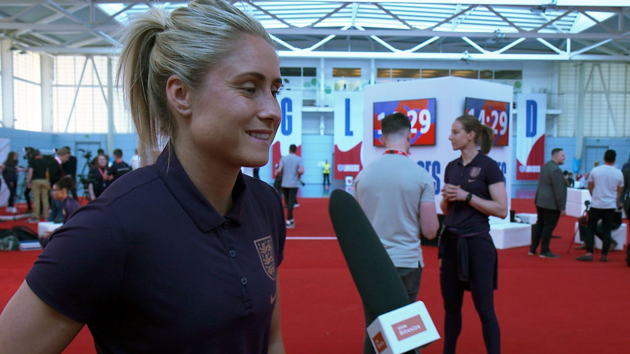 Steph Houghton being interviewed.