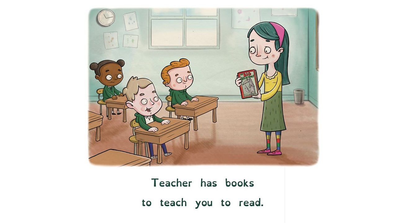 Illustration of teacher showing book to class