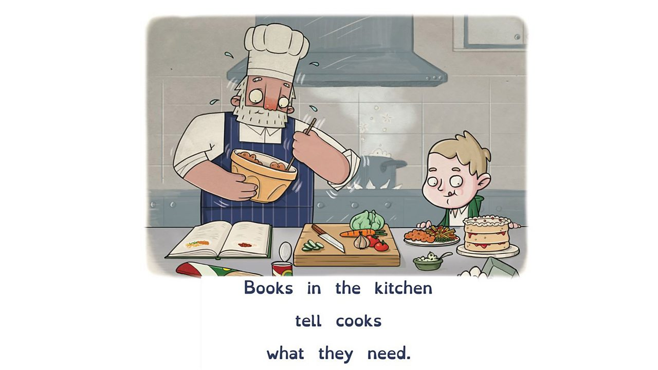 Illustration showing chef and child following instructions from cook book.