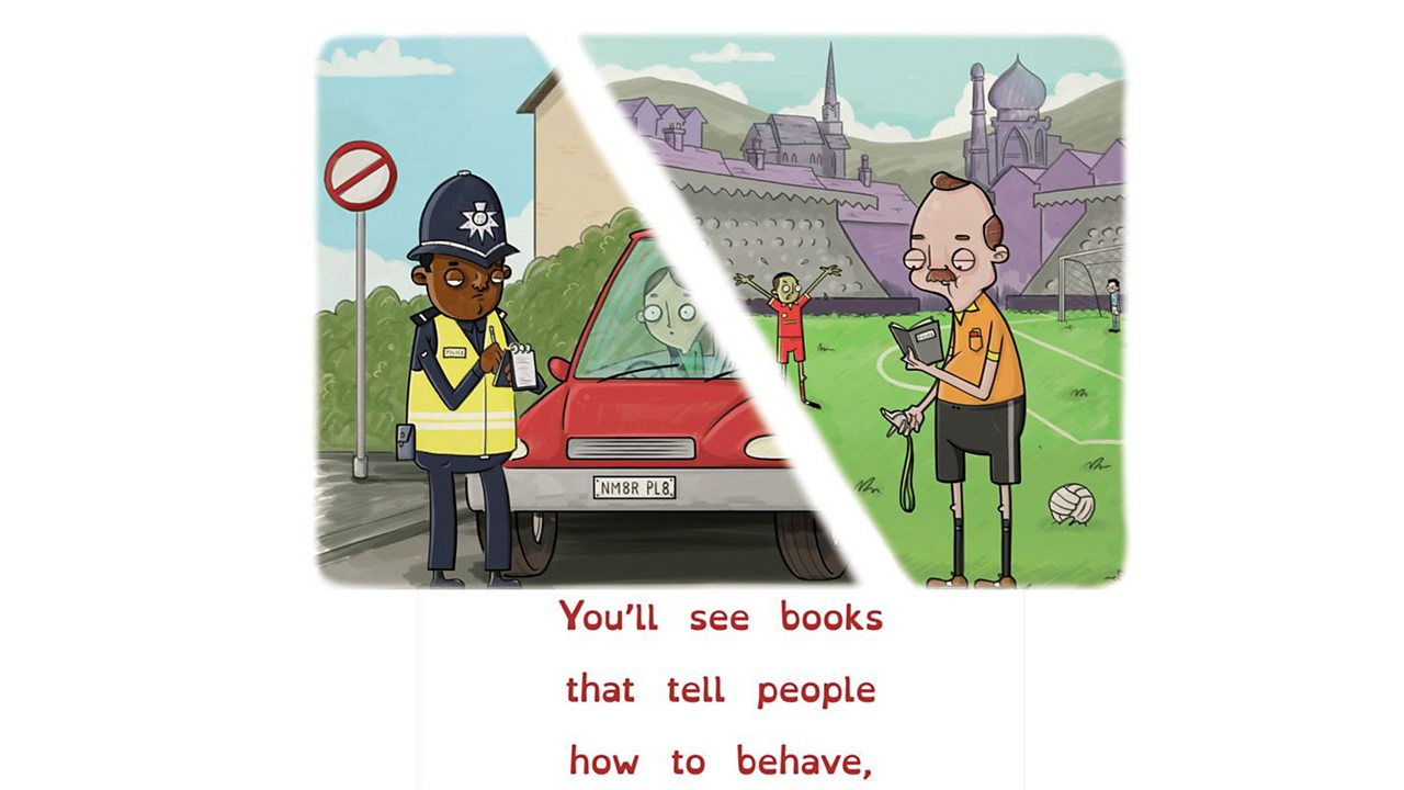 Illustration showing policeman and referee looking at books while working.