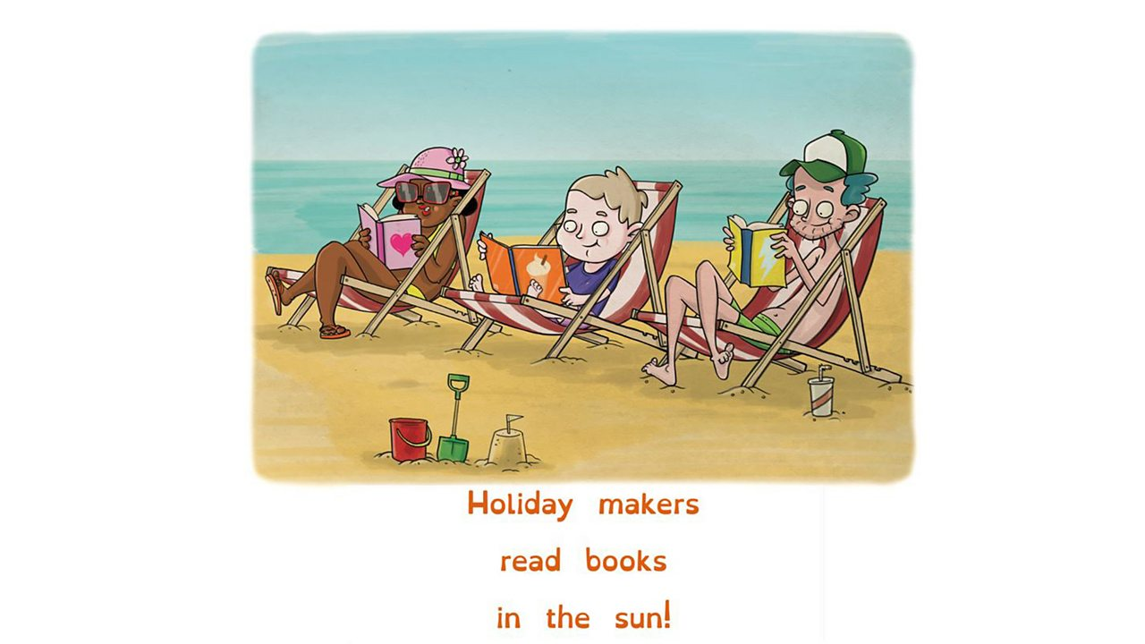 Illustration of holiday makers reading books at the beach.