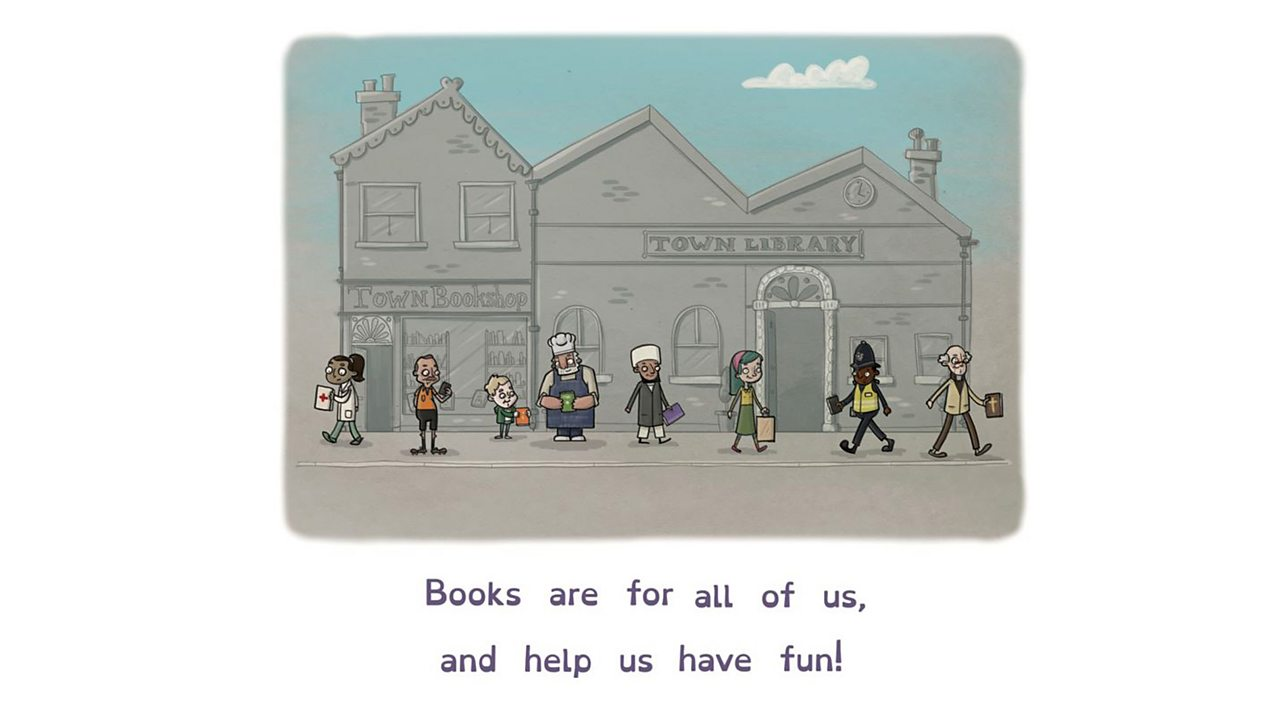 Illustration of various people with books outside a library.