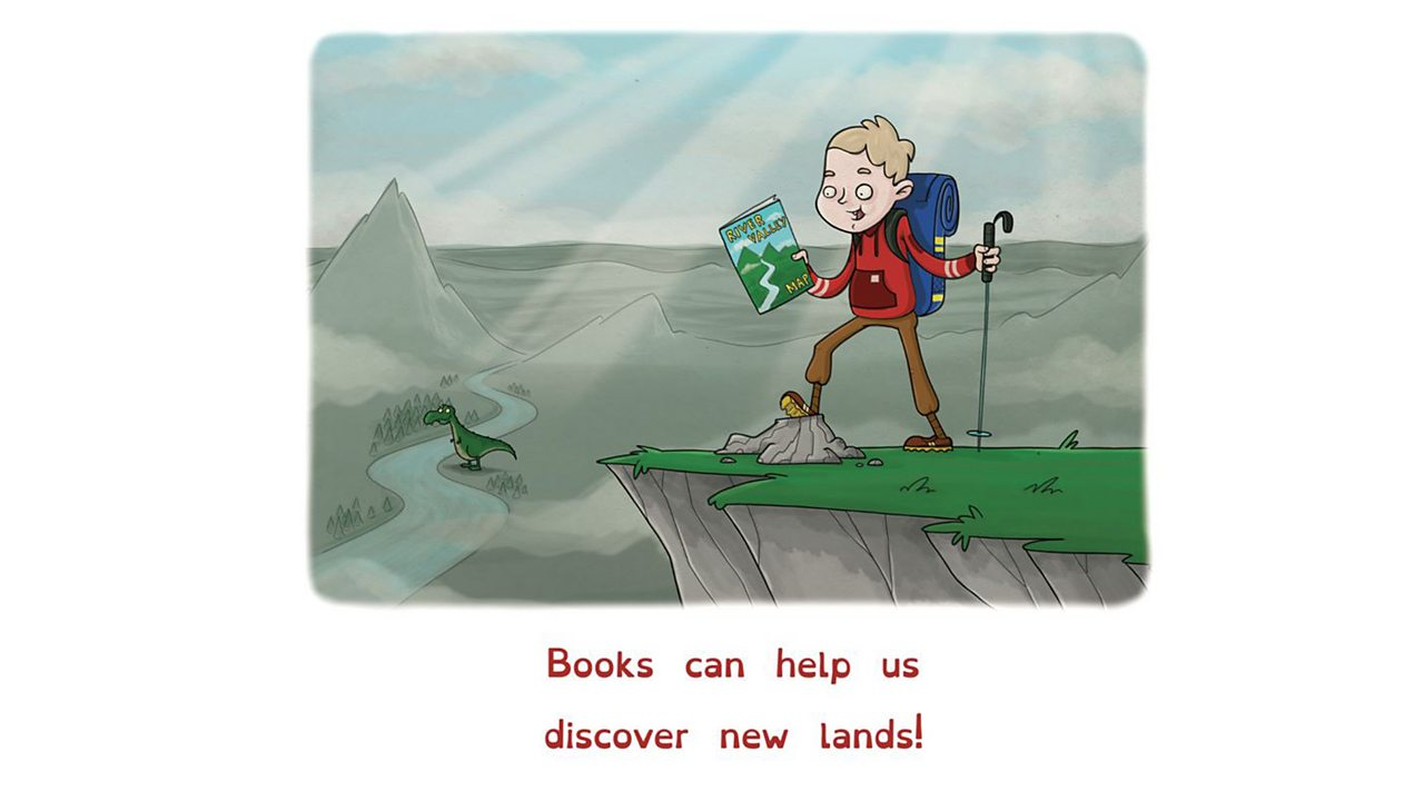 Illustration of boy with book of maps. Behind him is a valley with a dinosaur.